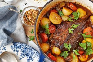 organic grass fed beef pot roast with carrots, tomatoes and parsley