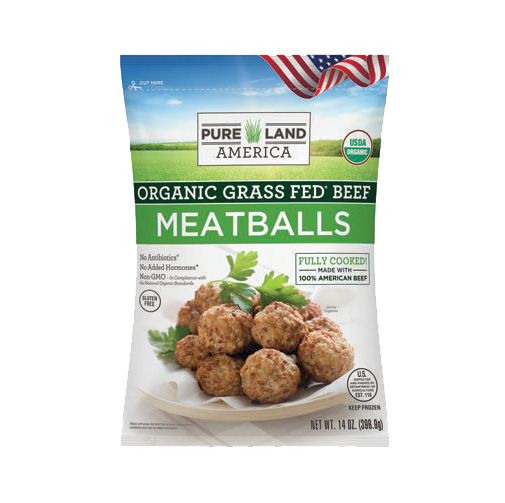 every bag of pureland america frozen meatballs is made organic and grass fed