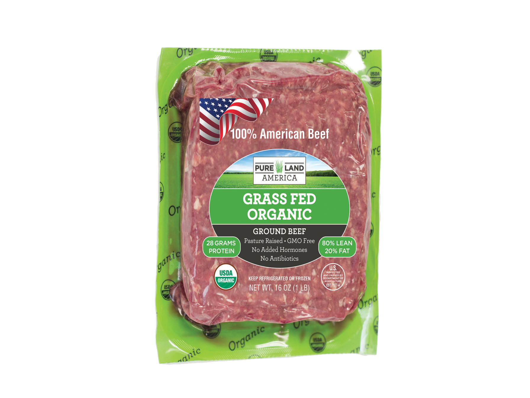 pasture raised grass fed 100% american ground beef