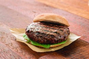 organic grass fed beef burger cooked medium by pureland america