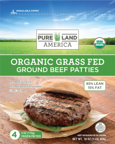 pureland america frozen organic burger patties with spinach